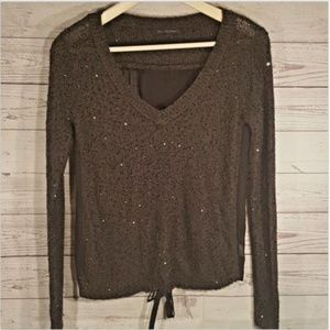 Black sequin sweater with sheer  tied back